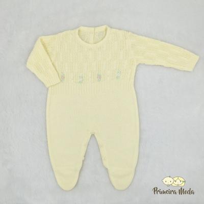 Macacão Trançado Bordado Amarelo - 1218 - Primeira Moda
