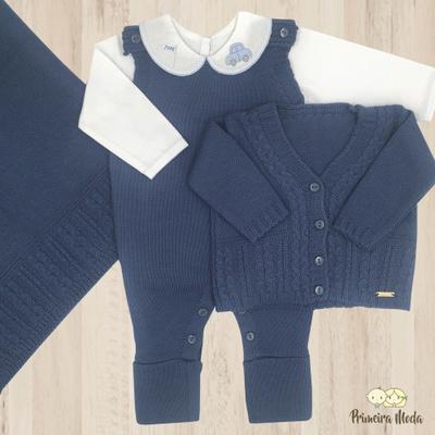 Saída De Maternidade Davi Azul Jeans - 1080 - Primeira Moda