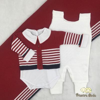 Saída De Maternidade Francisco Vermelha com Jardin... - Primeira Moda