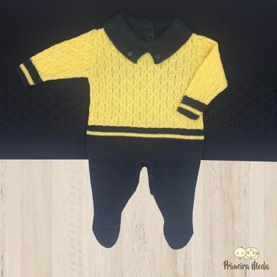 Saída De Maternidade Ravi Azul e Amarelo - 1134 - Primeira Moda
