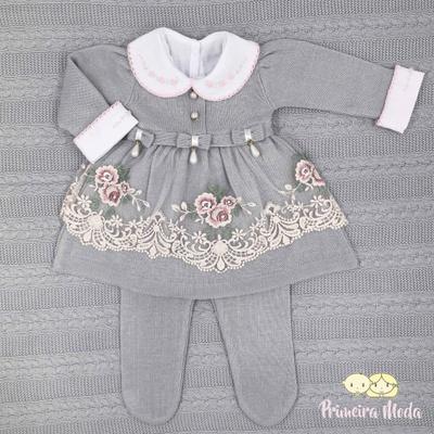 Saída De Maternidade Raika Cinza - 1167 - Primeira Moda