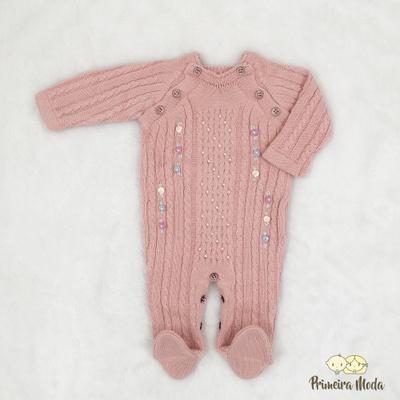 Macacão De Tricot Adele Rosa Candy - 1247 - Primeira Moda