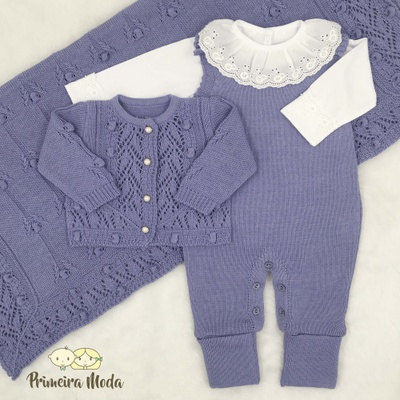 Saída De Maternidade Helena Roxa - 1261 - Primeira Moda