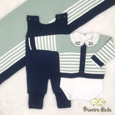 Saída De Maternidade Francisco Verde com Jardineir... - Primeira Moda