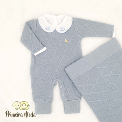 Saída De Maternidade Luan Azul Bebê - 1272 - Primeira Moda