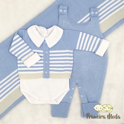 Saída De Maternidade Francisco Azul Bebê - 1278 - Primeira Moda