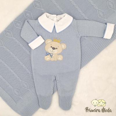 Saída De Maternidade Ursinho Azul Bebê - 1373 - Primeira Moda