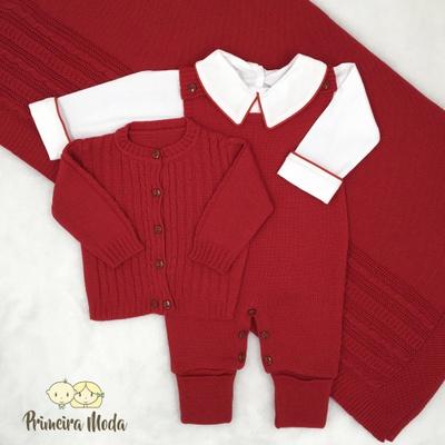 Saída De Maternidade Pedro Vermelho - 1374 - Primeira Moda