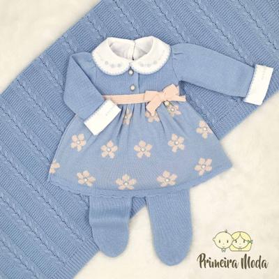 Saída De Maternidade Sophia Azul Bebê - 1036 - Primeira Moda