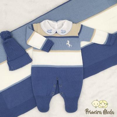 Saída De Maternidade Cavalinho Azul Jeans - 1461 - Primeira Moda