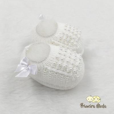 Sapatinho De Tricot Pérola Branco - 1281 - Primeira Moda