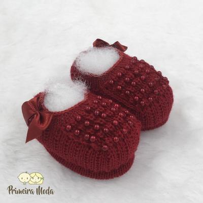 Sapatinho De Tricot Pérola Vermelho Escuro - 1285 - Primeira Moda