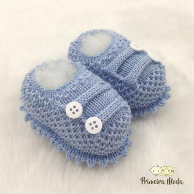 Sapatinho De Tricot Octavio Azul Bebê - 1404 - Primeira Moda