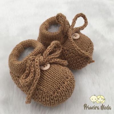 Sapatinho De Tricot Laço Caramelo - 1407 - Primeira Moda