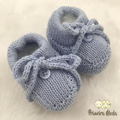 Sapatinho De Tricot Laço Azul Bebê - 1408 - Primeira Moda