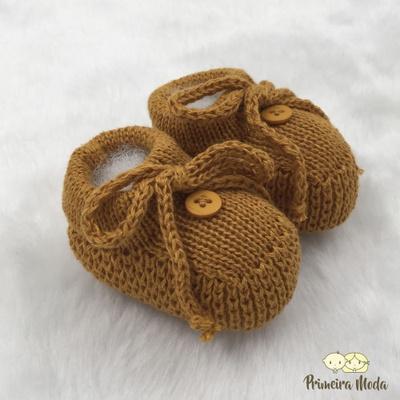 Sapatinho De Tricot Laço Mostarda - 1409 - Primeira Moda