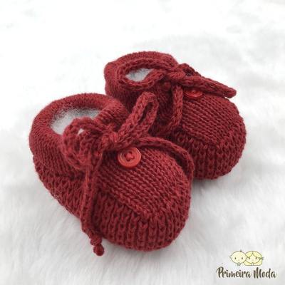 Sapatinho De Tricot Laço Vermelho - 1410 - Primeira Moda
