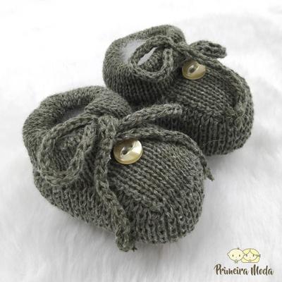 Sapatinho De Tricot Laço Verde - 1411 - Primeira Moda