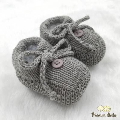 Sapatinho De Tricot Laço Cinza - 1412 - Primeira Moda