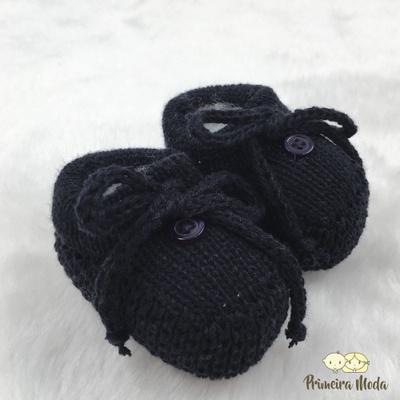Sapatinho De Tricot Laço Azul Marinho - 1413 - Primeira Moda