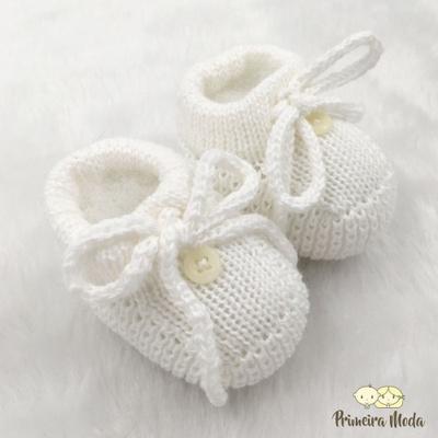 Sapatinho De Tricot Laço Branco - 1415 - Primeira Moda