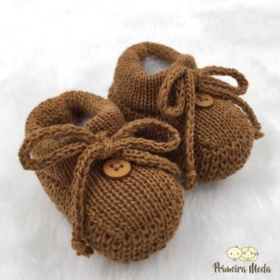 Sapatinho De Tricot Laço Cobre - 1416 - Primeira Moda