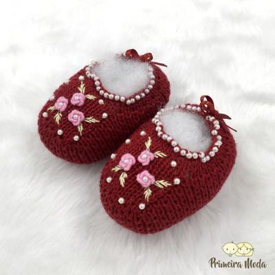 Sapatinho De Tricot Flor Vermelho - 1422 - Primeira Moda