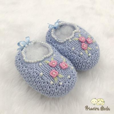 Sapatinho De Tricot Flor Azul - 1426 - Primeira Moda