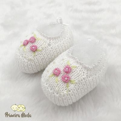 Sapatinho De Tricot Flor Branco - 1432 - Primeira Moda