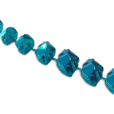 Corrente Dali Metalizada 10x10mm - Cromo Azul