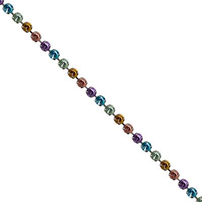 Corrente Mini Rivoli Pedras 10x10mm Degradê - Banho Níquel