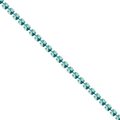 Corrente Mini Rivoli Metalizada Pedras 10x10mm - Banho Verde Light