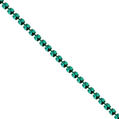 Corrente Mini Rivoli Metalizada Pedras 10x10mm - Banho Verde Escuro