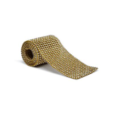Tira De Strass Dourada e Pedra Cristal - 45x05cm