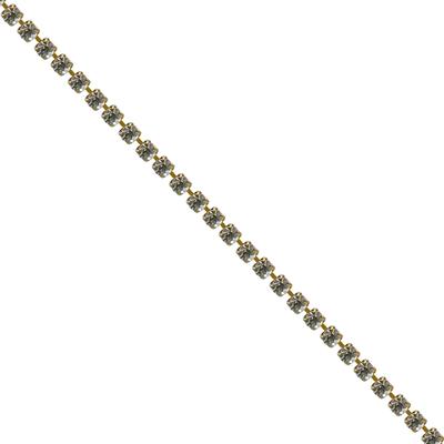 Corrente Ss12 / Pl24 - Pedra Cristal, Banho Ouro.