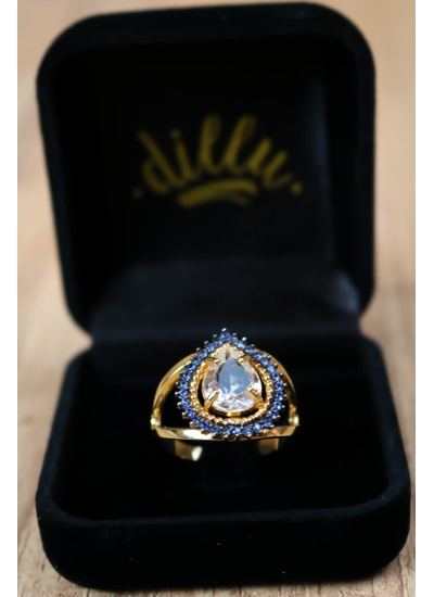 Anel Gota Cristal No Banho de Ouro 18K - AN4134G - Dillu Jóias