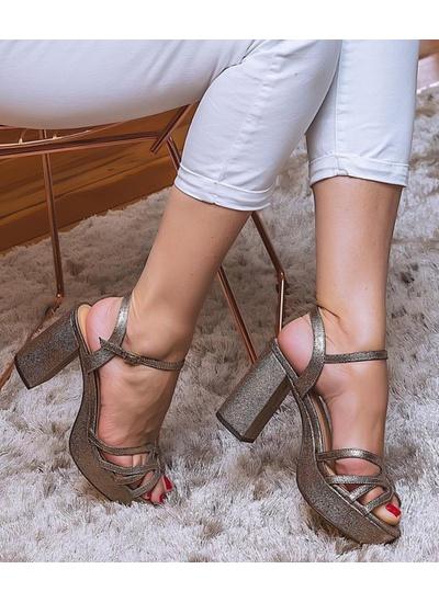 Sandália Em Glitter Ouro - Luiza Barcelos - SA600... - Dillu Jóias