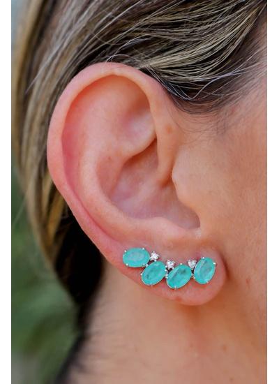 Brinco Ear Cuff Turmalina Azul NO Banho de Ródio -... - Dillu Jóias