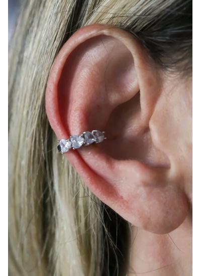 Piercing Coração Cristal no Banho de Ródio - PIN1... - Dillu Jóias