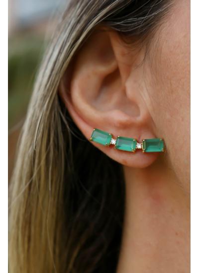 Brinco Ear Cuff Esmeralda No Banho de Ouro 18K - B... - Dillu Jóias
