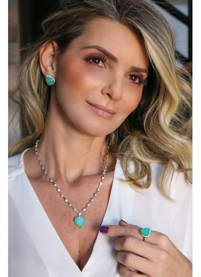 Colar Luxo Coração P Esmeralda Colombiana, corrent... - Dillu Jóias