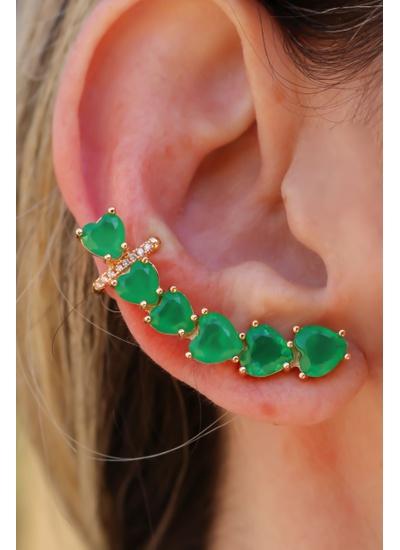 Brinco Coração Ear Cuff com Piercing No Banho de O... - Dillu Jóias