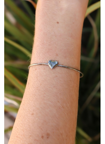 Bracelete Coração no Ródio Black - BRA18G - Dillu Jóias