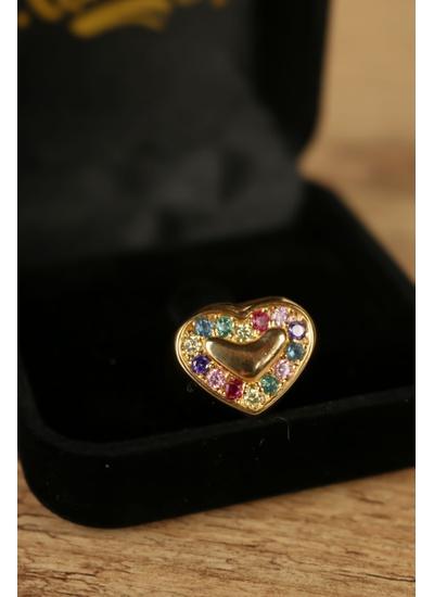 Anel coração colorido no banho de ouro 18K - AN913... - Dillu Jóias