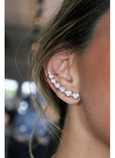 Brinco Ear Cuff Cristal no Banho de Ródio - BR179... - Dillu Jóias