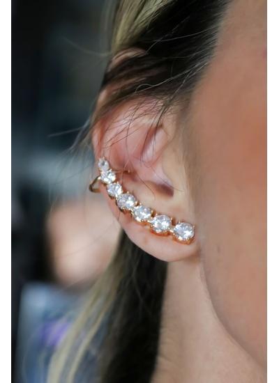 Brinco Ear Cuff Cristal no banho de Ouro 18K - BR1... - Dillu Jóias