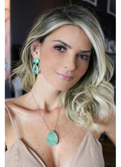 Gota Esmeralda Colombiana no banho de ródio - CL4... - Dillu Jóias