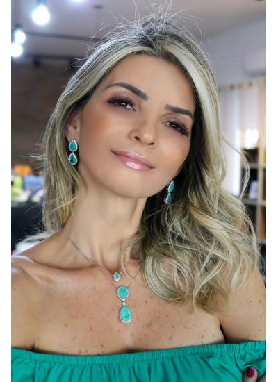 Colar Gravata Duas Gotas em Esmeralda Colombiana e... - Dillu Jóias