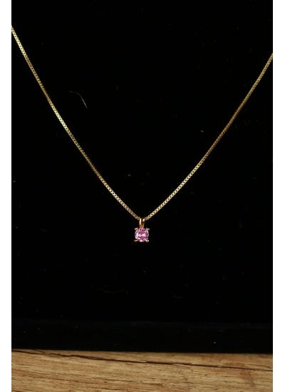 Colar Quartzo Rosa no banho de Ouro 18K - CL21931N - Dillu Jóias