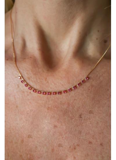 Colar Turmalina Rosa com Ouro 18K - CL5265N - Dillu Jóias